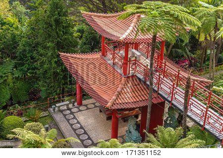Chashitsu Japan Monte Palace tropican garden in Funchal, Madeira island, Portugal.