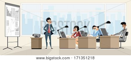 Vector illustration of a lecturer provides training