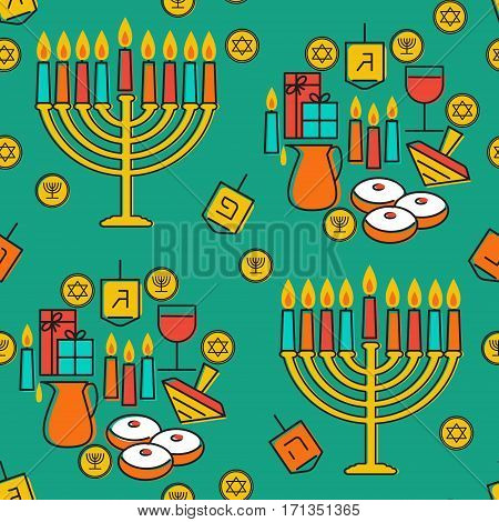 Hanukkah seamless pattern. Jewish Holiday Hanukkah symbol. Menorah candlestick , candles, donuts sufganiyan , gifts, dreidel, coins, oil. Happy Hannukah in Hebrew. Vector illustration