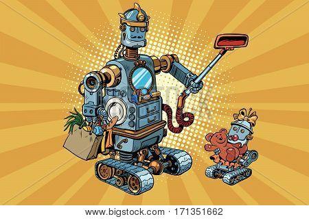 Family retro robots dad and baby. Vintage pop art retro comic book vector illustration