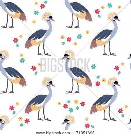 Crowned crane. African bird. Tropical bird. Seamless pattern background. Vector illustration.