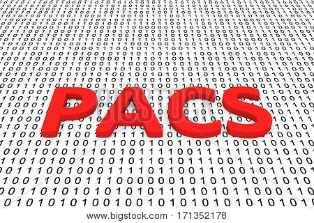 pacs in the form of binary code, 3D illustration
