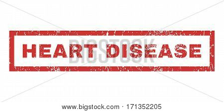 Heart Disease text rubber seal stamp watermark. Tag inside rectangular banner with grunge design and dust texture. Horizontal vector red ink sticker on a white background.