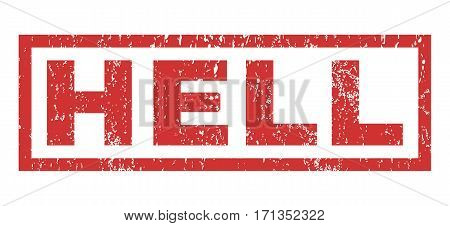 Hell text rubber seal stamp watermark. Caption inside rectangular banner with grunge design and dust texture. Horizontal vector red ink emblem on a white background.