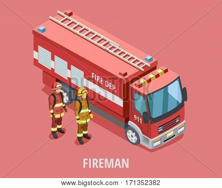 Profession fireman isometric template with firefighters in uniform standing near truck isolated vector illustration