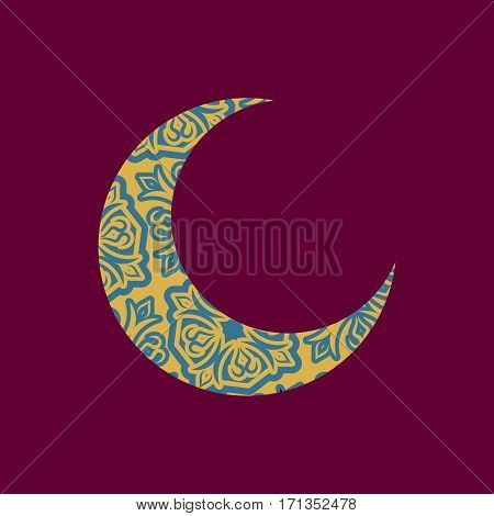 Crescent Arab Pattern. Illustration For Eid Mubarak. Ramadan Islam Holiday