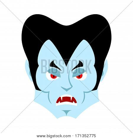 Dracula Angry Emoji. Vampire Evil Emotion Face Isolated