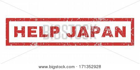 Help Japan text rubber seal stamp watermark. Caption inside rectangular shape with grunge design and dirty texture. Horizontal vector red ink sticker on a white background.