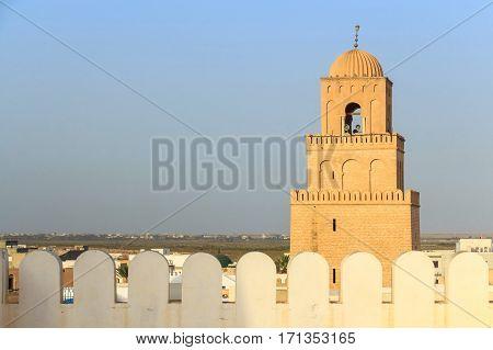 Scenic view to Great Sidi Oqba Mosque in Kairouan, Tunisia