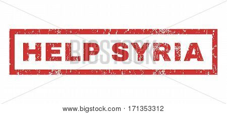 Help Syria text rubber seal stamp watermark. Tag inside rectangular shape with grunge design and dirty texture. Horizontal vector red ink emblem on a white background.