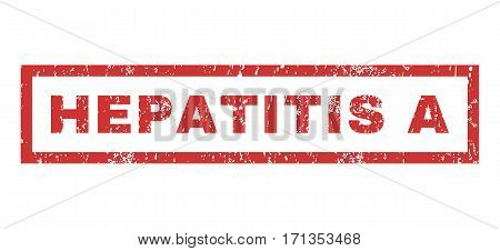 Hepatitis a text rubber seal stamp watermark. Caption inside rectangular shape with grunge design and dust texture. Horizontal vector red ink sign on a white background.
