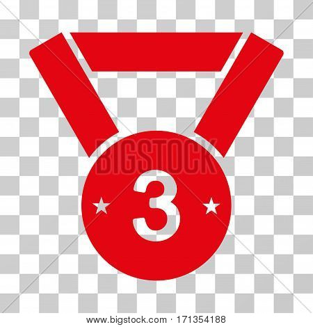 Third Medal icon. Vector illustration style is flat iconic symbol red color transparent background. Designed for web and software interfaces.