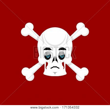 Skull And Crossbones Sad Emoji. Skeleton Head  Sorrowful Emotion Isolated