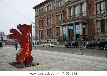 BERLIN, GERMANY - FEBRUARY 10: A Berlinale bear figure is seen as people attend the 67th Berlinale International Film Festival at European Film Market  in Berlin, Germany on February 10, 2017