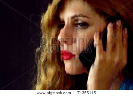Woman crying by phone. Girl talking on phone . Portrait of sad female behind window with rain. Sad woman's face behind glass with drops. Black background.
