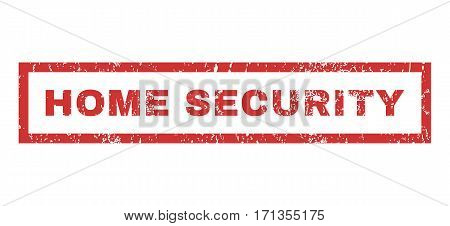 Home Security text rubber seal stamp watermark. Tag inside rectangular shape with grunge design and unclean texture. Horizontal vector red ink emblem on a white background.