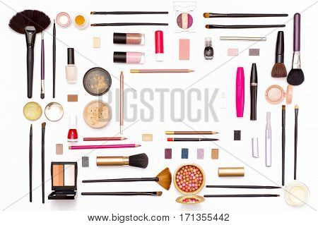 Cosmetics For Facial Makeup: Brushes, Powder, Lipstick, Eye Shadow, Nail Polish, Pencils And Other A