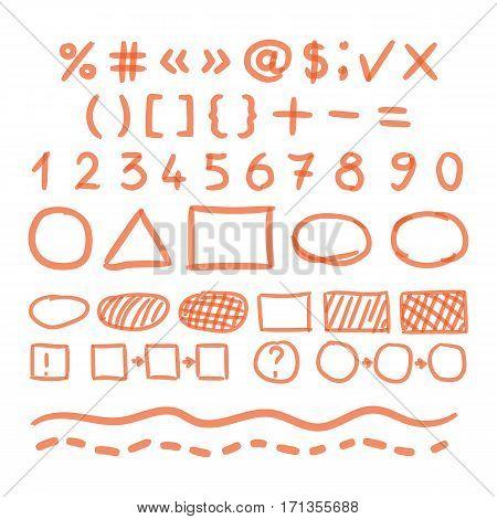 Marker Hand Written Doodle Numbers, Symbols Vector illustration