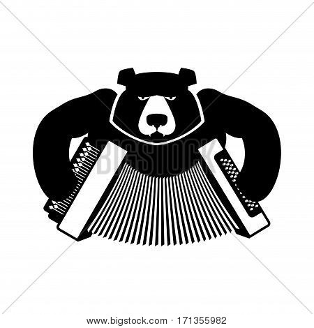 Russia Logo Bear With Accordion. Grizzlies With An Harmonica. Russian Folk Musical Instrument. Natio