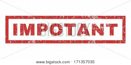 Impotant text rubber seal stamp watermark. Caption inside rectangular banner with grunge design and dust texture. Horizontal vector red ink emblem on a white background.
