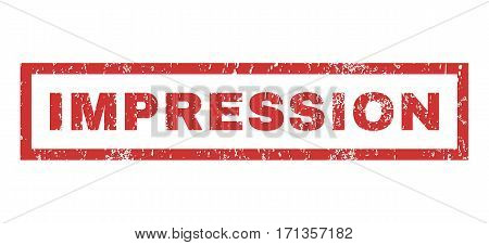 Impression text rubber seal stamp watermark. Tag inside rectangular shape with grunge design and unclean texture. Horizontal vector red ink sign on a white background.