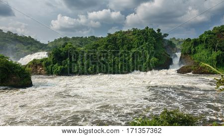 Wide view of two falls in Murchison park, Nilo River, Uganda, bottom view