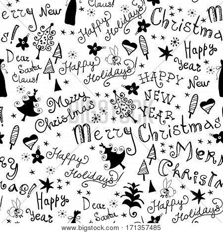 Seamless christmas handwritten pattern in black and white color. Hand drawn background with phrases and Christmas tree. Handwritten inscriptions. Modern brush calligraphy.