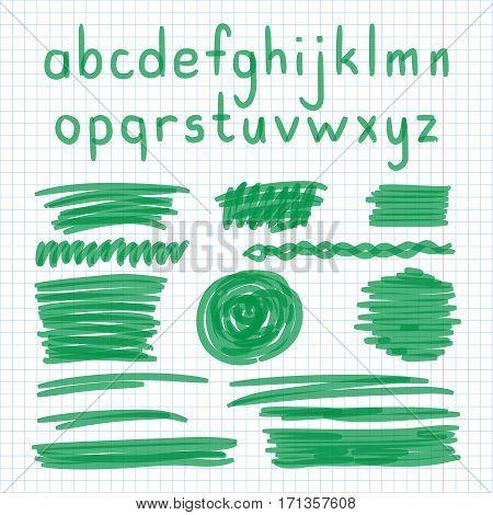 Marker Hand Written Doodle Letters, Symbols Vector