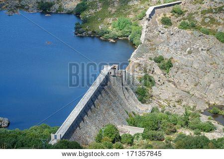 Top view of Vega de Tera broken dam in Zamora, Spain