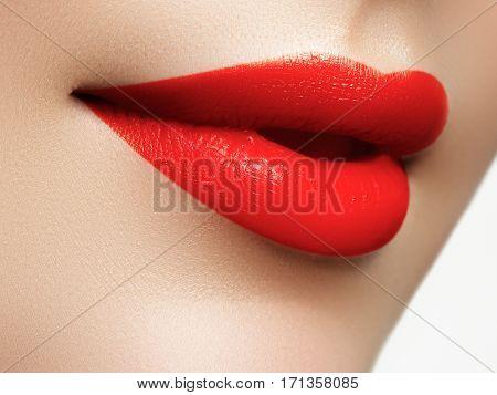 Beauty Face Closeup. Sexy Lips. Beauty Red Lip Makeup Detail. Beautiful Make-up Close-up