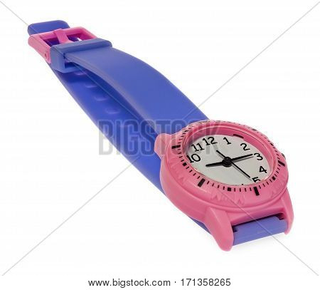 Pink watch with a purple stripe. Wristwatch on a white background with slight reflection.