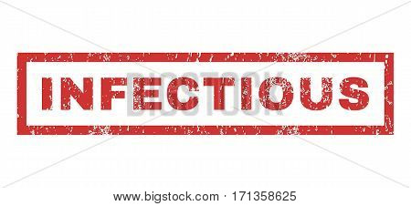 Infectious text rubber seal stamp watermark. Tag inside rectangular shape with grunge design and scratched texture. Horizontal vector red ink sign on a white background.