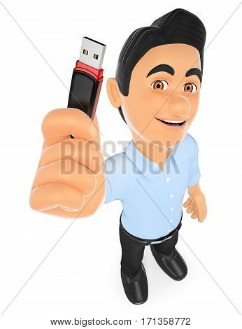 3d working people illustration. Information technology technician with a usb memory stick. Isolated white background.