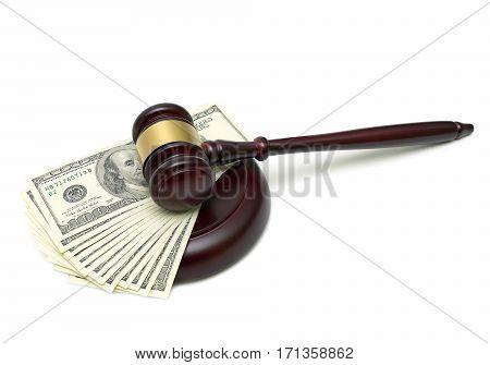 gavel and U.S. dollars isolated on white background. horizontal photo.
