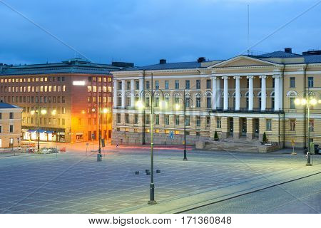 Government Palace with Prime Minister Office on Senate Square, Helsinki, Finland