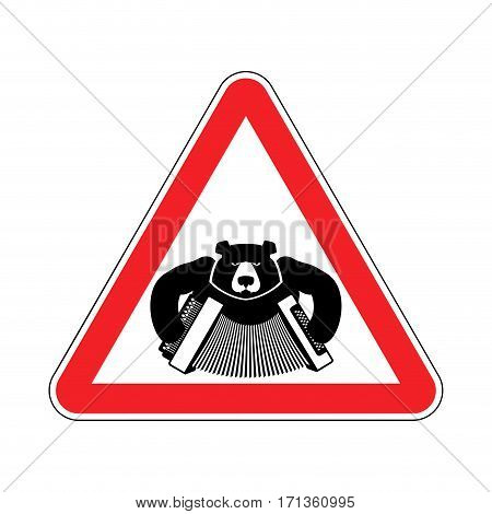 Warning Russia. Bear With Accordion With Red Triangle. Road Sign Attention To Russians