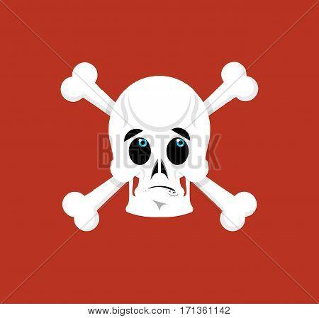 Skull And Crossbones Surprised Emoji. Skeleton Head Astonished Emotion Isolated