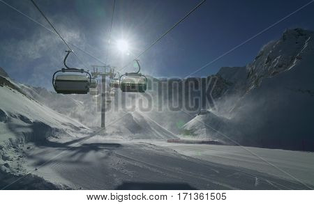 Strong wind storm chair lifts do not work on the top of ski resort Gorky Gorod 2200 meters above sea level