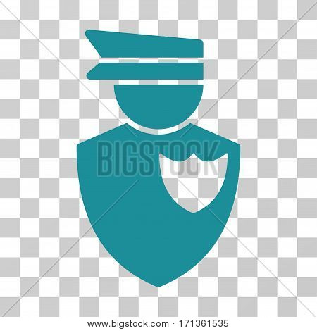 Policeman icon. Vector illustration style is flat iconic symbol soft blue color transparent background. Designed for web and software interfaces.