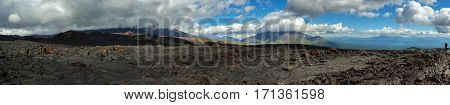 Panorama of lava field of volcanic eruption active Plosky Tolbachik Volcano, Klyuchevskaya Group of Volcanoes