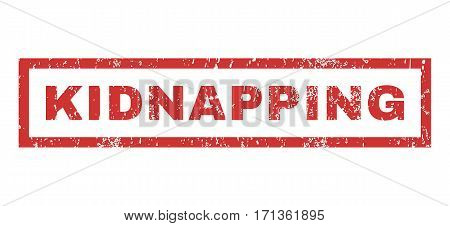Kidnapping text rubber seal stamp watermark. Caption inside rectangular banner with grunge design and dirty texture. Horizontal vector red ink emblem on a white background.