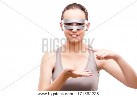 Techno girl holding gands isolated on white