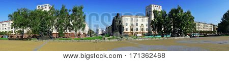 Minsk Belarus Yakub Kolas Square a monument in honor of the national poet 26 May 2011 urban architecture editorial