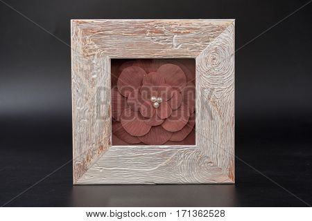 An Empty Box On A Black Background. Casket.
