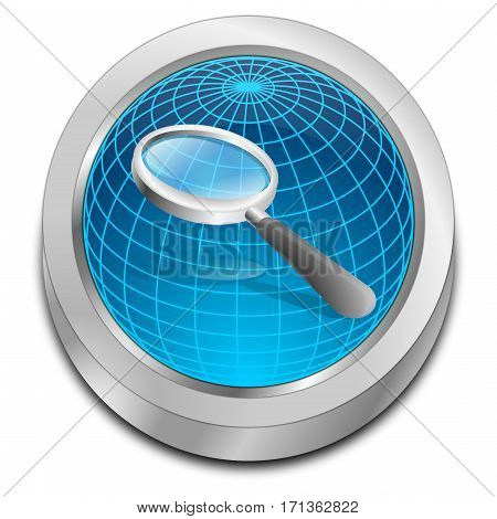glossy blue magnifying glass button over globe - 3D illustration