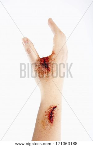 Artificial Blood Wound on Human Hand - Isolated on White