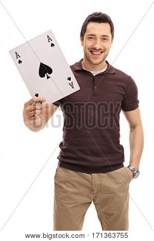 Happy guy with an ace of spades card isolated on white background