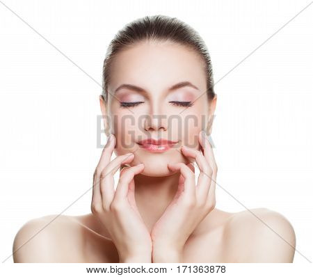 Beautiful Woman Spa Model with Nude Makeup. Perfect Face. Skincare Beauty Facial Treatment and Cosmetology