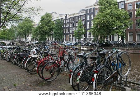 Netherlands Amsterdam June 2016: The Keizersgracht is freqently used as a parking for bicycles
