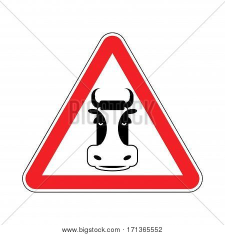 Warning Cow. Beef On Red Triangle. Road Sign Attention To Farm Animal
